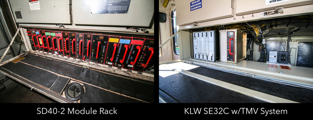SD40-2 Module Rack vs. TECU modules, installed in KLW SE32C
