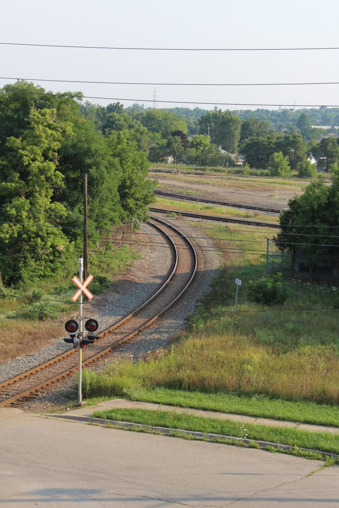 Tracks for switching in Cambridge Ontario, view from bridge in the summer