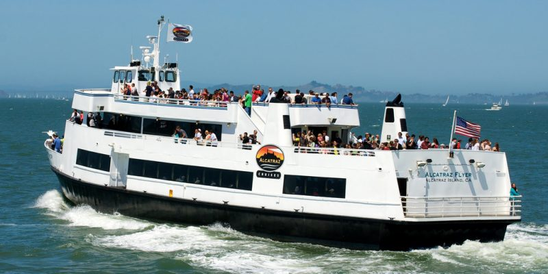 Hornblower cruise ship in the water, full of customer people