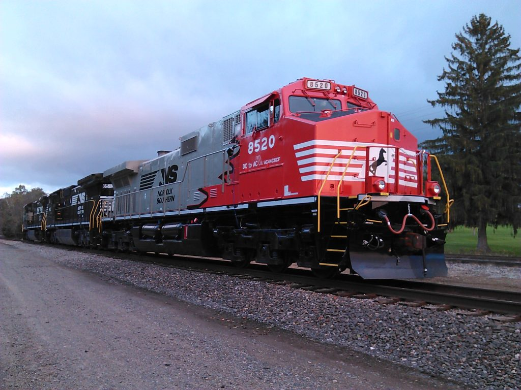 "#8520 DC2AC ""Rudolph"" engine from NS in the sunset"