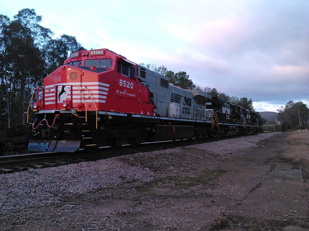 Sunset photo of Rudolph the Red Nosed locomotive Norfolk Southern DC2AC project