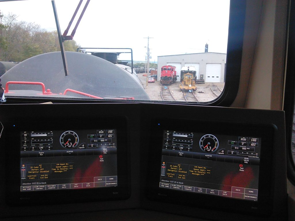 Inside the cab of DC2AC locomotive, running tests at New York shop