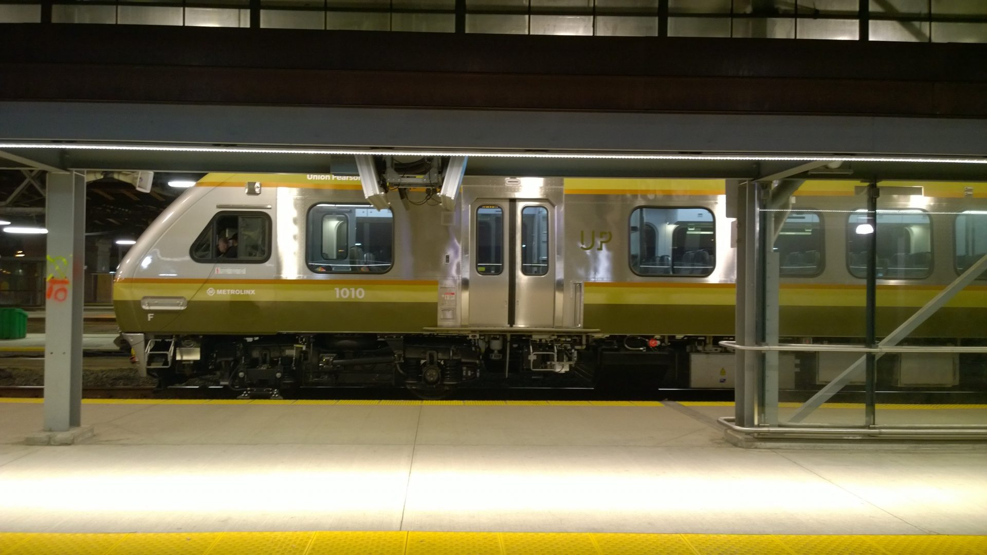 UP passenger train stopped at Union station or Pearson Airport
