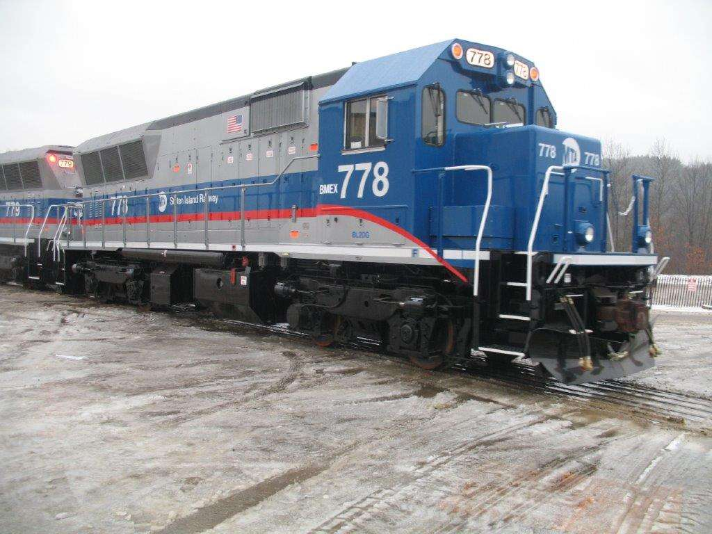 Brookville Equipment Company blue BL20 locomotive fresh out of the shop, painted blue and grey
