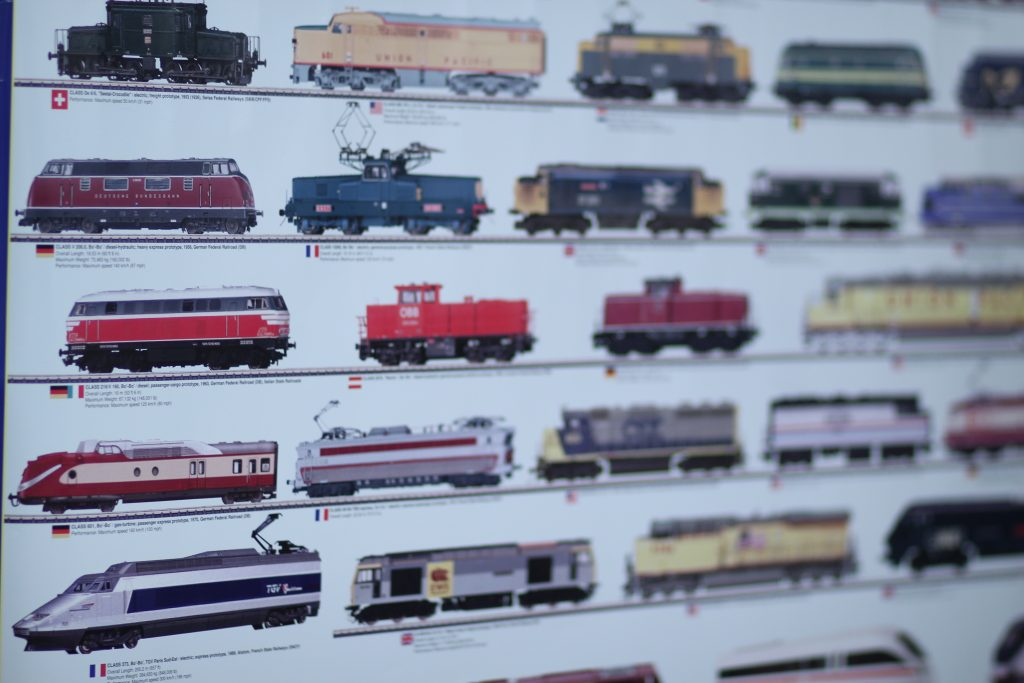 Poster showing profiles of locomotives and their names