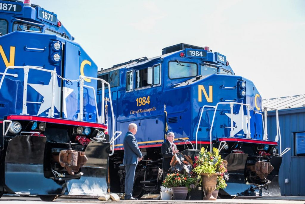 impressive looking F59PH locomotives #1871 and #1984 at NCDOT christening ceremony