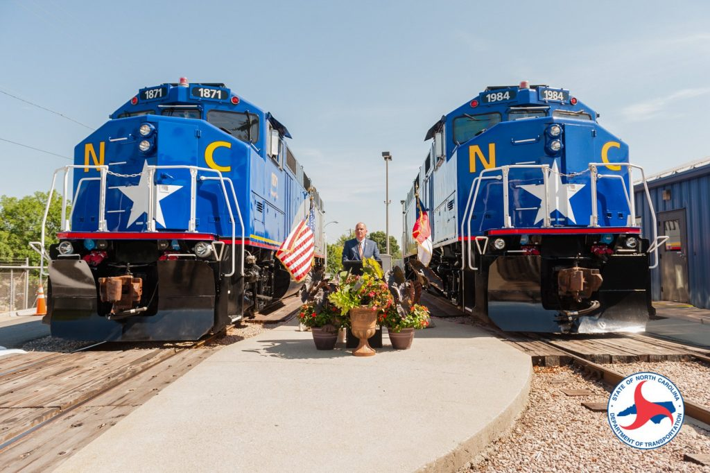 Two brand new NCDOT locomotives #1871 and #1984, at christening ceremony