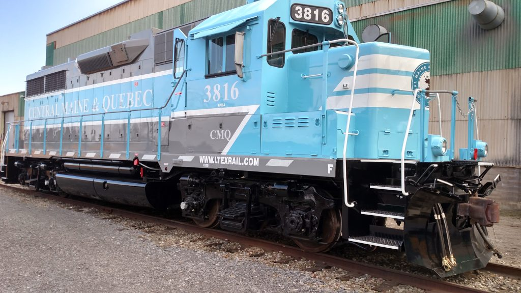 aqua coloured locomotive from Quebec, made by Larry's Truck and Electric