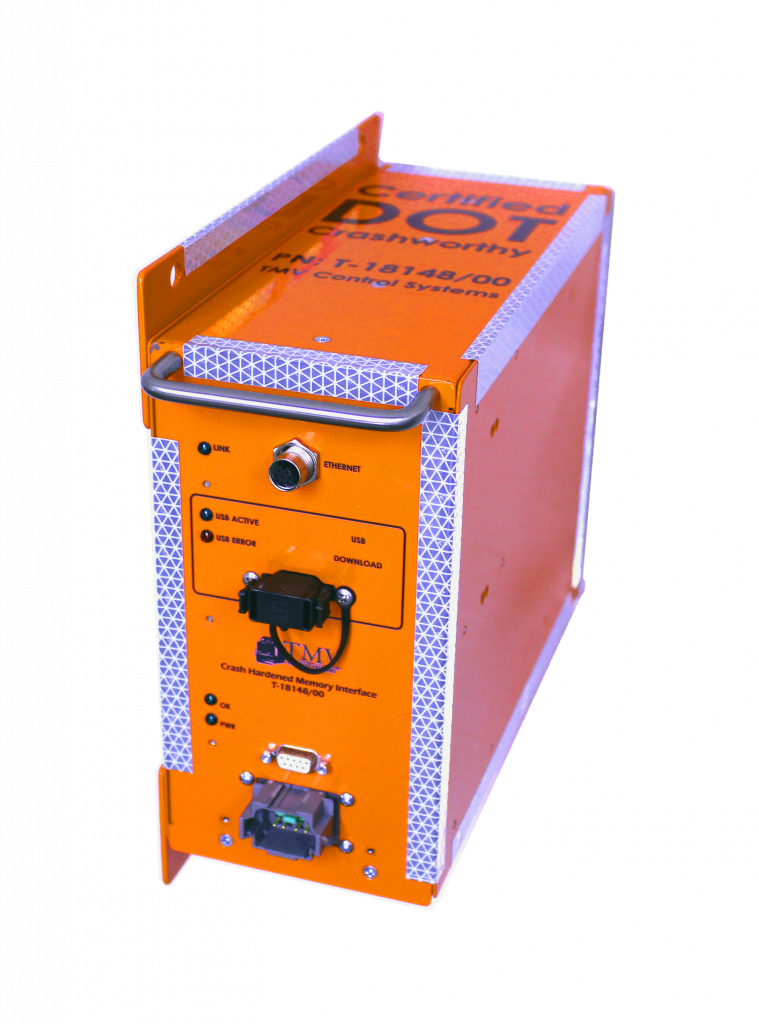 Crash Hardened Crash-Hard Memory Interface CHMM orange with reflective tape, TMV Control Systems, data protective preserve data in the event of a crash, certified DOT Department of Transportation Crashworthy