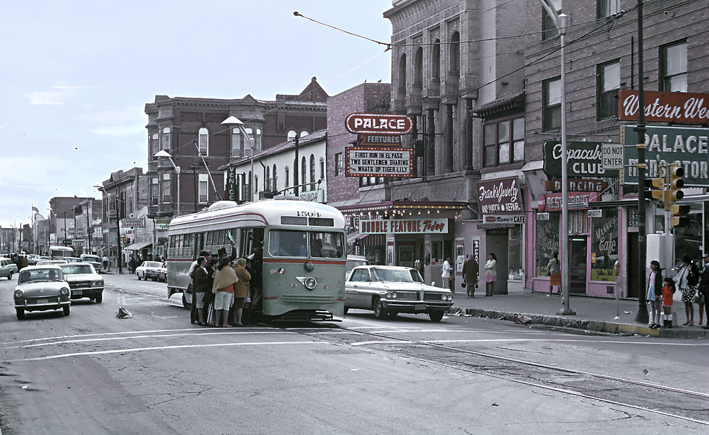 1950's El Paso Texas, streetcars in a windy street, historical photo