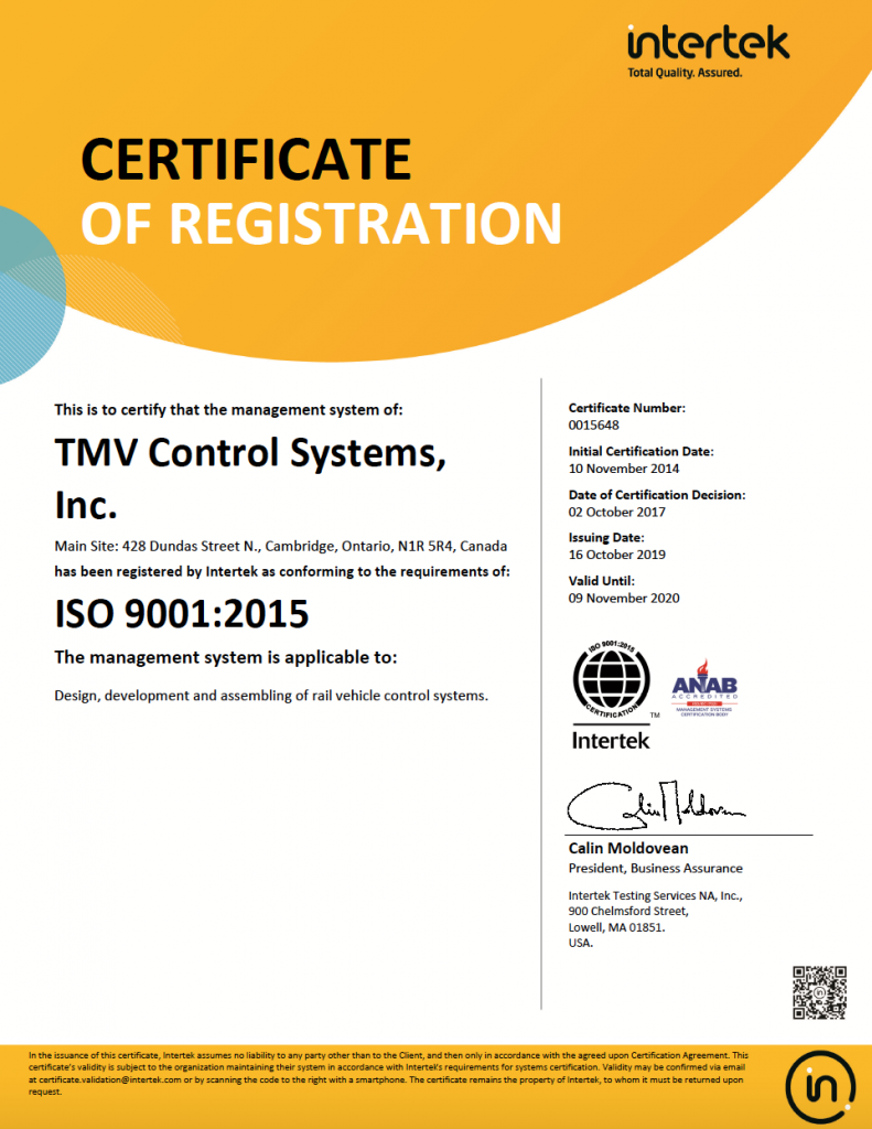 ISO 2009 Certification to TMV Control Systems by Intertek