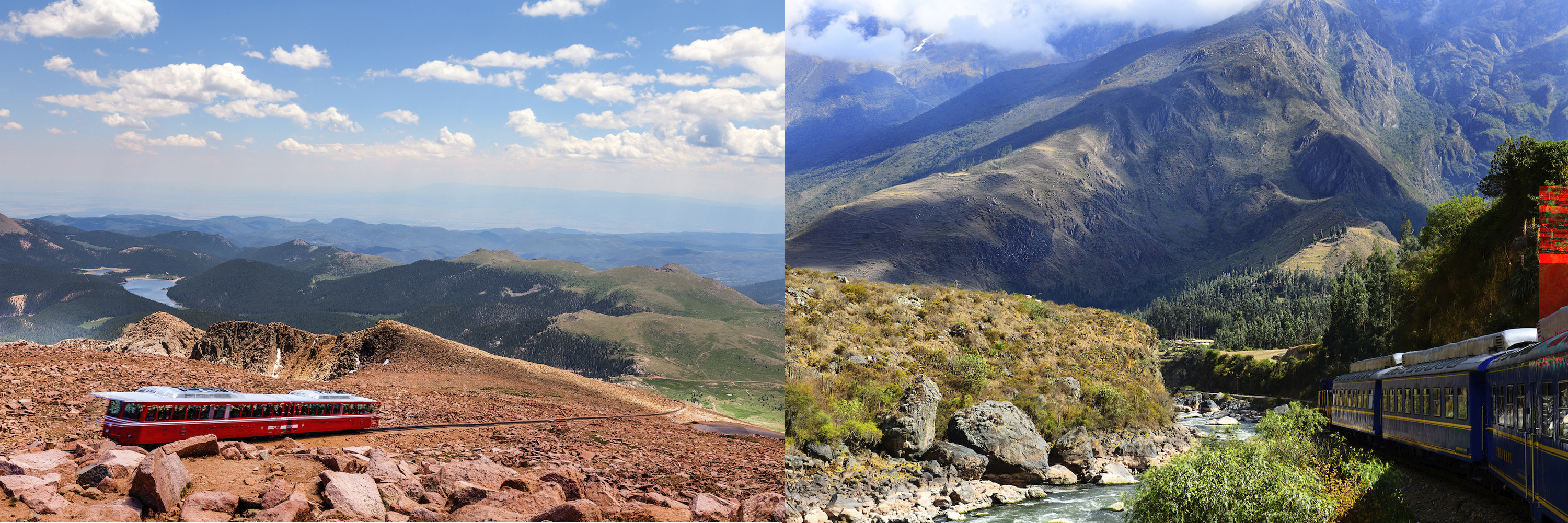 two beautiful shots of pikes peak cog railway view from the peak red mountains blue sky, and peru rail near Machu Picchu with mountains hot humid and a creek