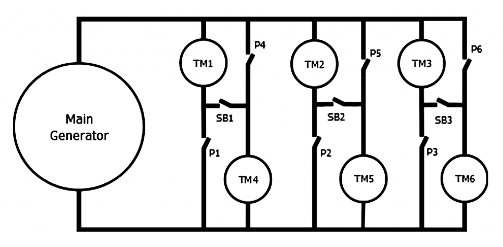 Electrical Schematic wiring diagram showing showing traction motor circuit wired in series and parallel