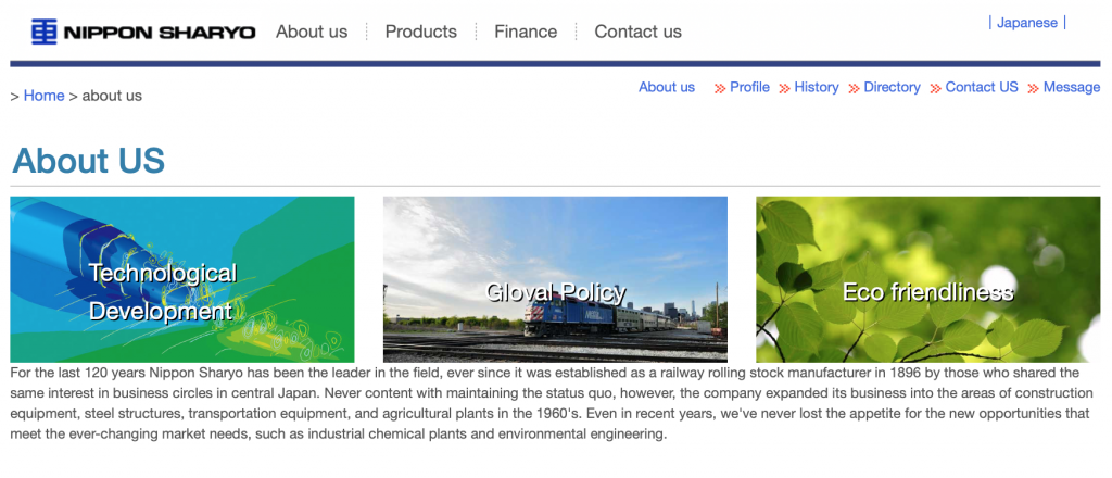Website homepage from Nippon Sharyo with blue and green picture buttons talking about technological development, global policy, and eco friendliness