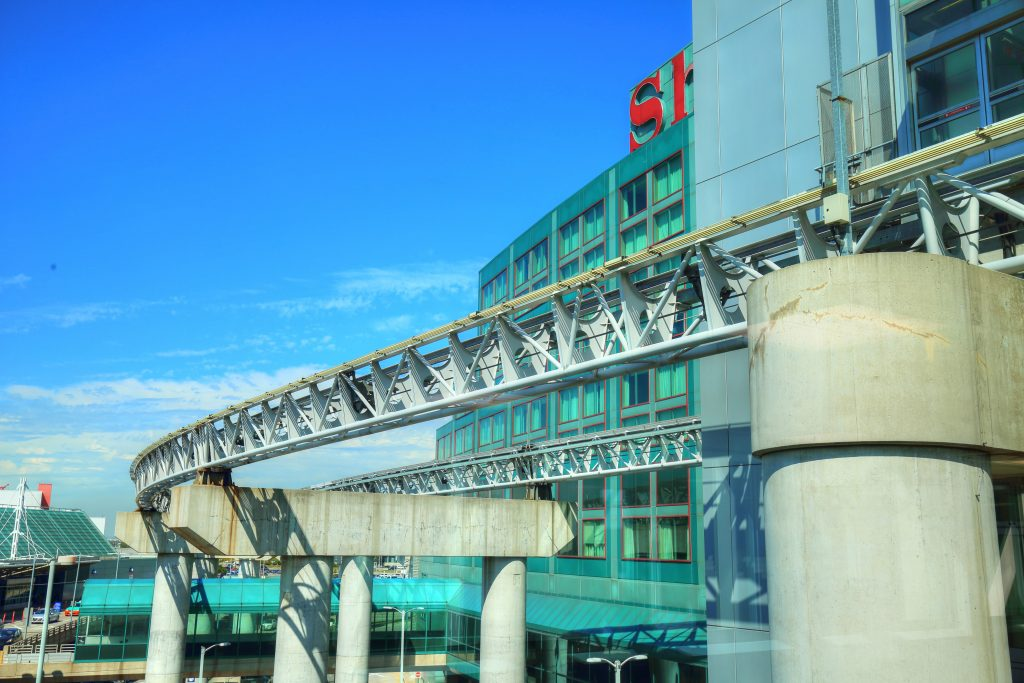 Union Station Pearson Airport train track in the sky beautiful aqua colours and modern looking