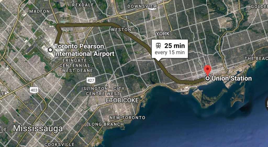 google maps screenshot of the UP train line from union station to pearson airport. This public transit route takes about 25 minutes.