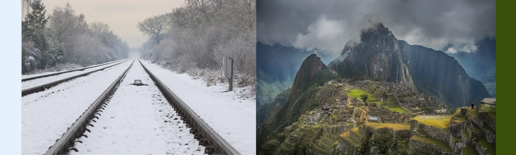 Canadian winter train track contrasted with Machu Picchu hot changing climate, where passenger trains run with TECU control systems