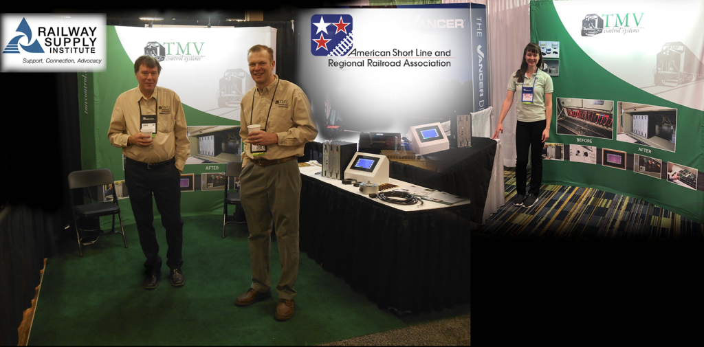 Derick Vander Klippe and Jay Rafferty at the Railway Supply Institute RSI Tradeshow, and Katie Vander Klippe at the American Short Line and Regional Railroad Association ASLRRA