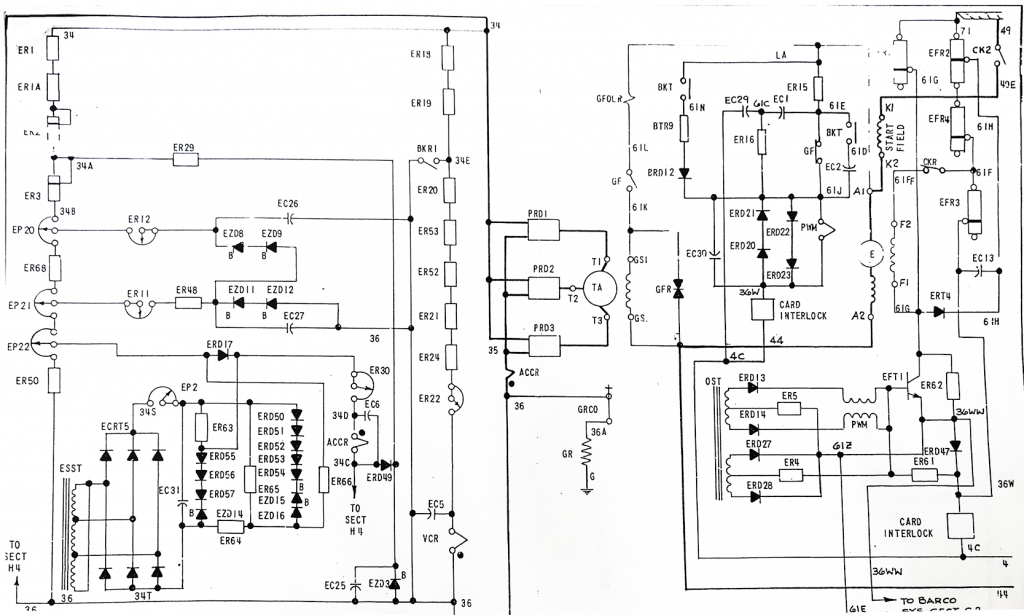 Locomotive Schematic Drawing page in black and white showing electrical connections on a segment of a locomotive's electrical system