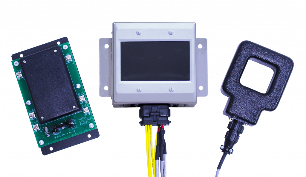 Three tech items, a square green circuit board is for measuring voltage, the touch screen is to view megawatt hour data, and the square current sensor is for measure current